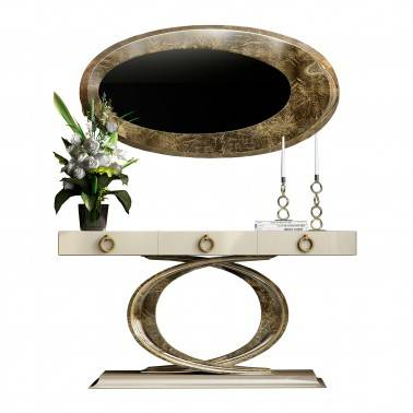 Recibidor moderno con marco espejo en pan de oro