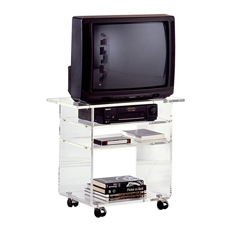 Mesa de tv minimalista con ruedas acabado transparente for Mesas de tv con ruedas